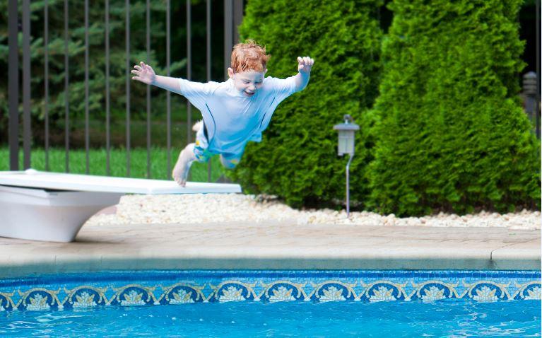 Jump into pool