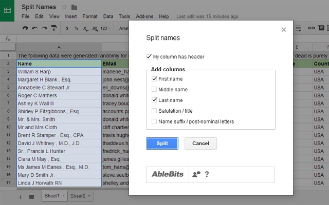 Fast and easy way to split names | Spreadsheet tips